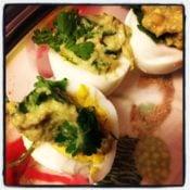 Guacamole Cilantro Deviled Eggs