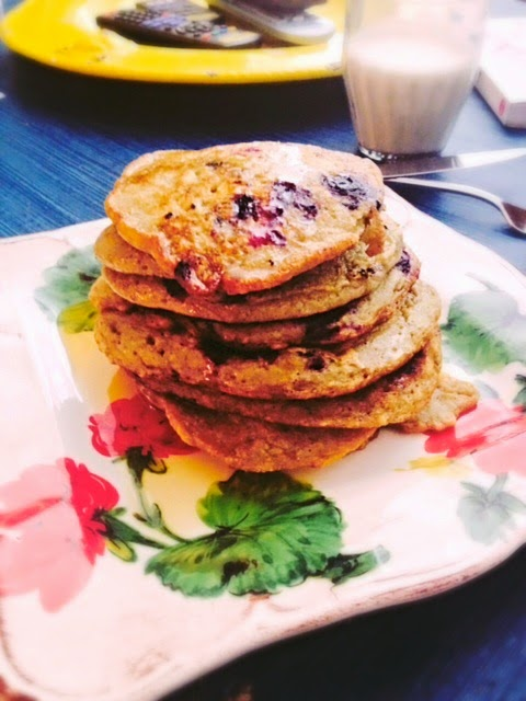 fluffy blueberry pancakes stack