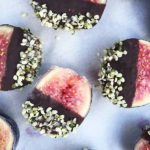 gluten-free chocolate dipped hemp seed black mission figs with coconut oil is the easiest and most delicious treat!