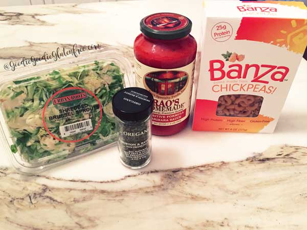 Easy, Banza pasta marinara both vegan and gluten-free