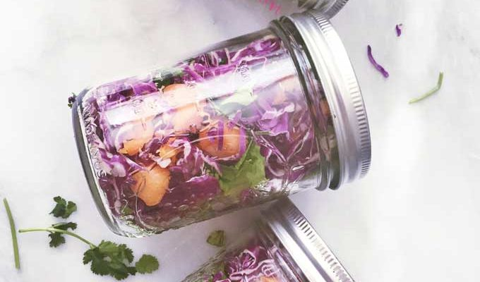 Crunchy Cabbage Cilantro Salad Jars