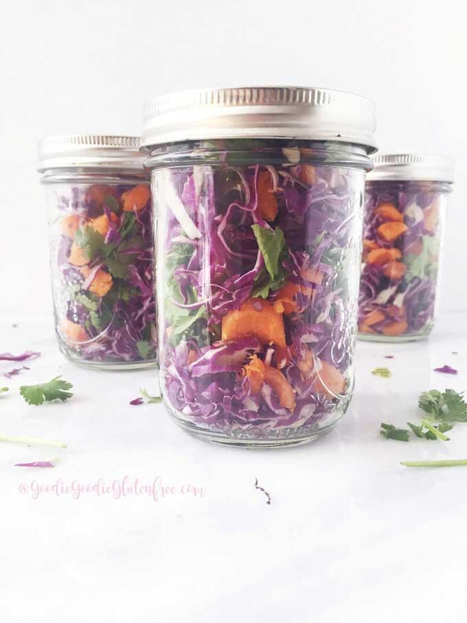 crunchy cabbage cilantro salad jars vegan