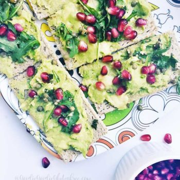 gluten free superfood avocado toast vegan pomegranate seeds