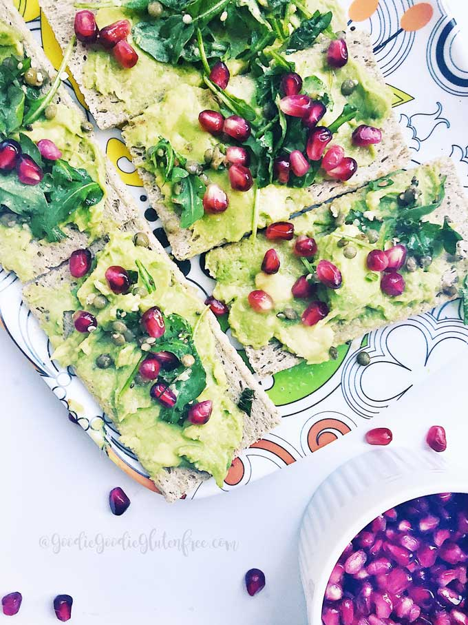 gluten free superfood avocado toast vegan pomegranate seeds