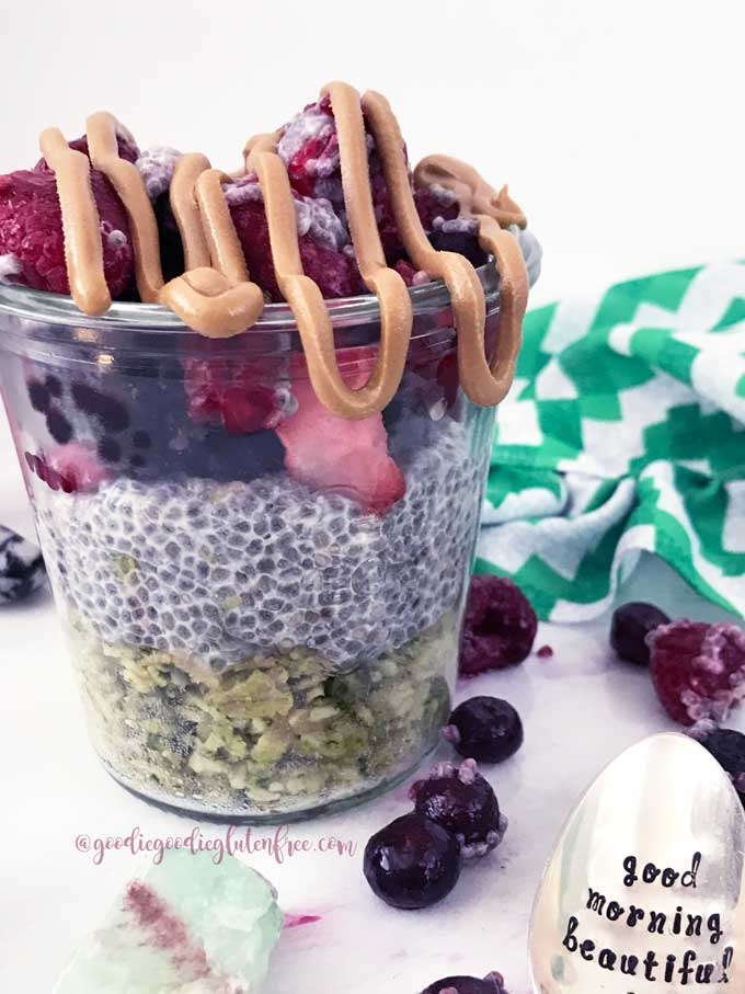 Matcha oat chia sundae parfait vegan and gluten-free