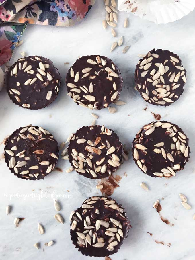 Sunflower seed chocolate coins vegan and paleo