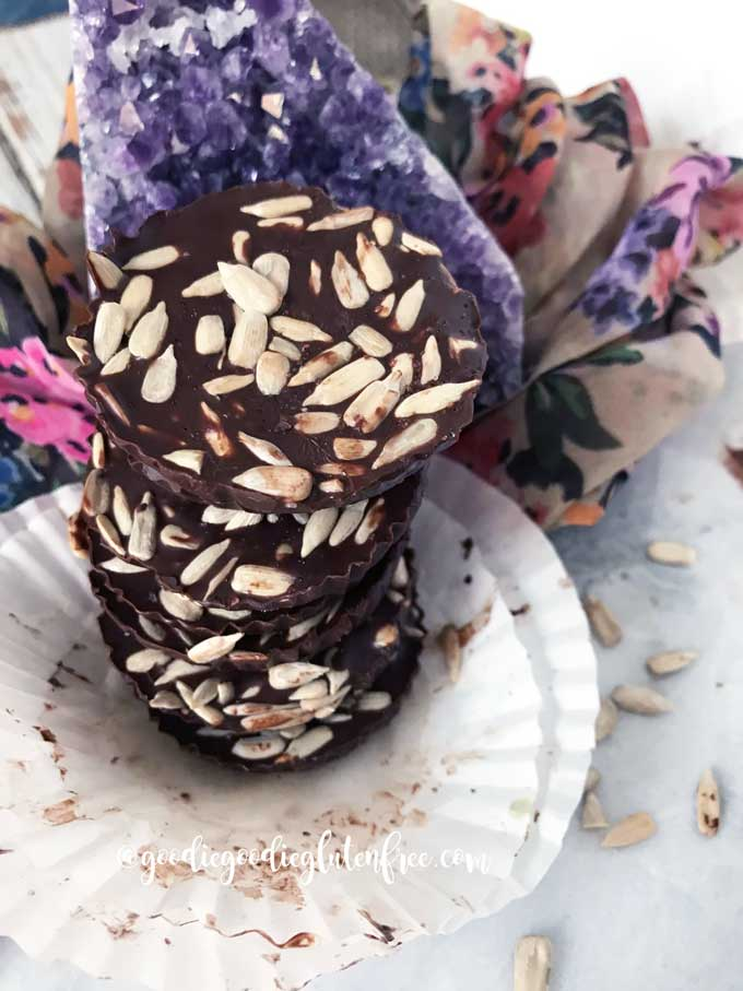 Sunflower seed dark chocolate coins vegan and dairy-free
