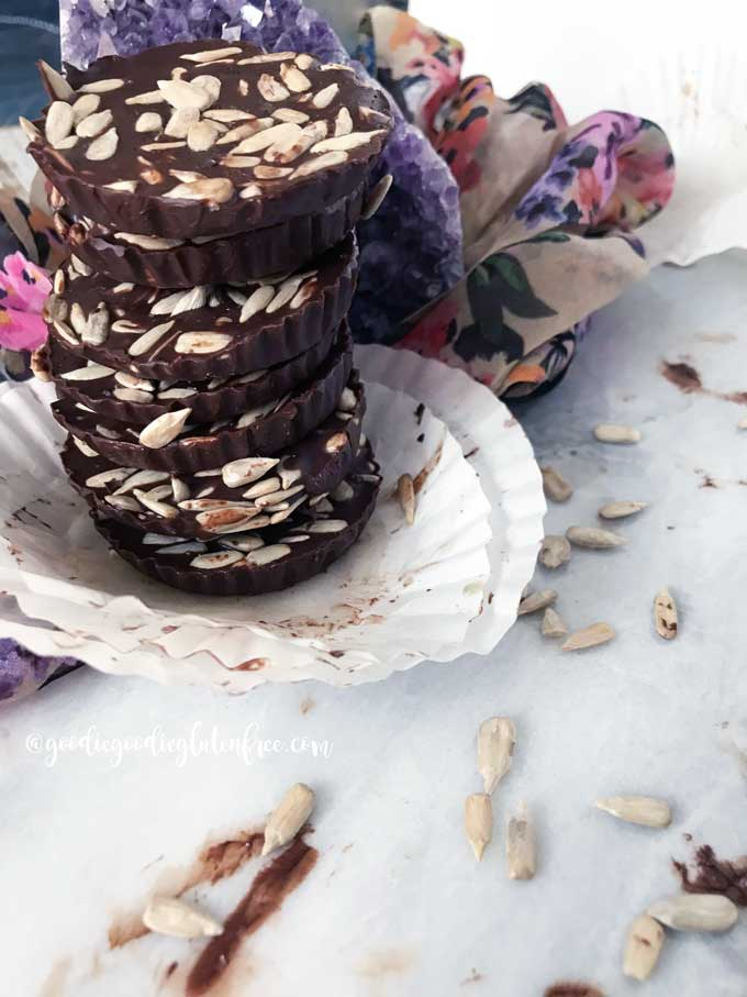 Sunflower seed dark chocolate coins vegan