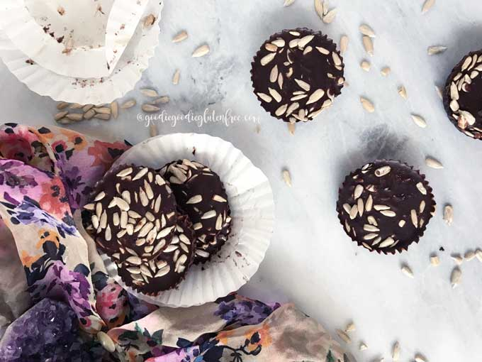 Sunflower seed dark chocolate coins
