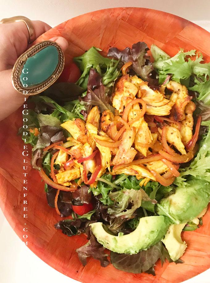gluten free turmeric fajita salad nut free paleo healthy
