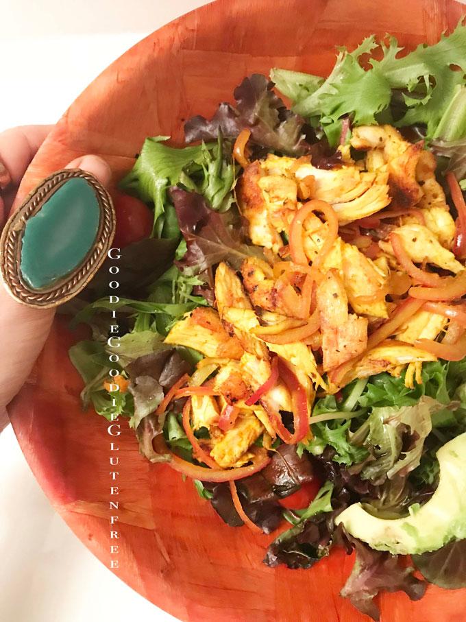 turmeric fajita gluten free salad nut free