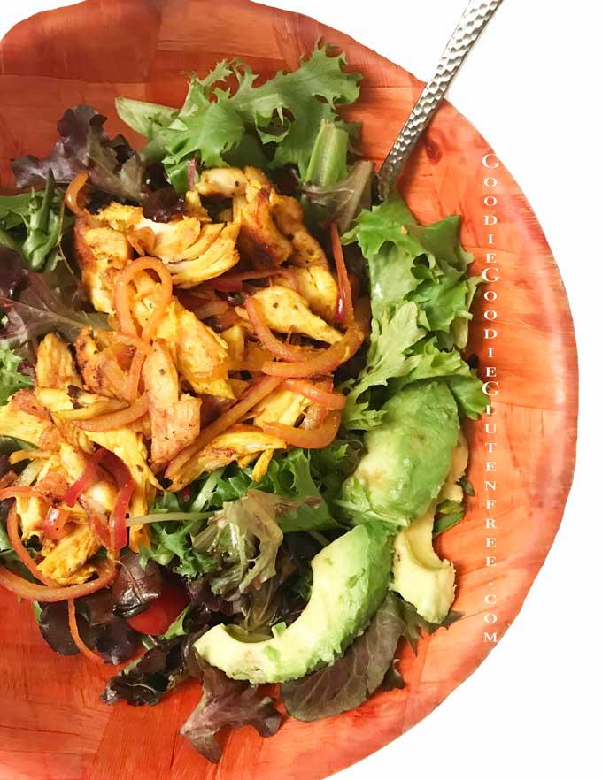 turmeric gluten free fajita salad nut free
