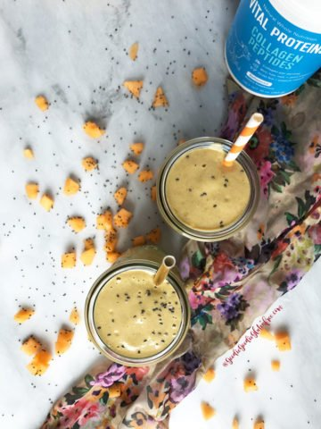 Two homemade cantaloupe strawberry protein smoothies that are super creamy and thick