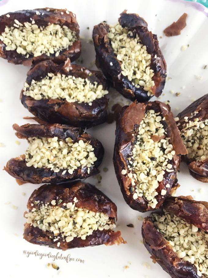 juicy dates stuffed with hemp seeds