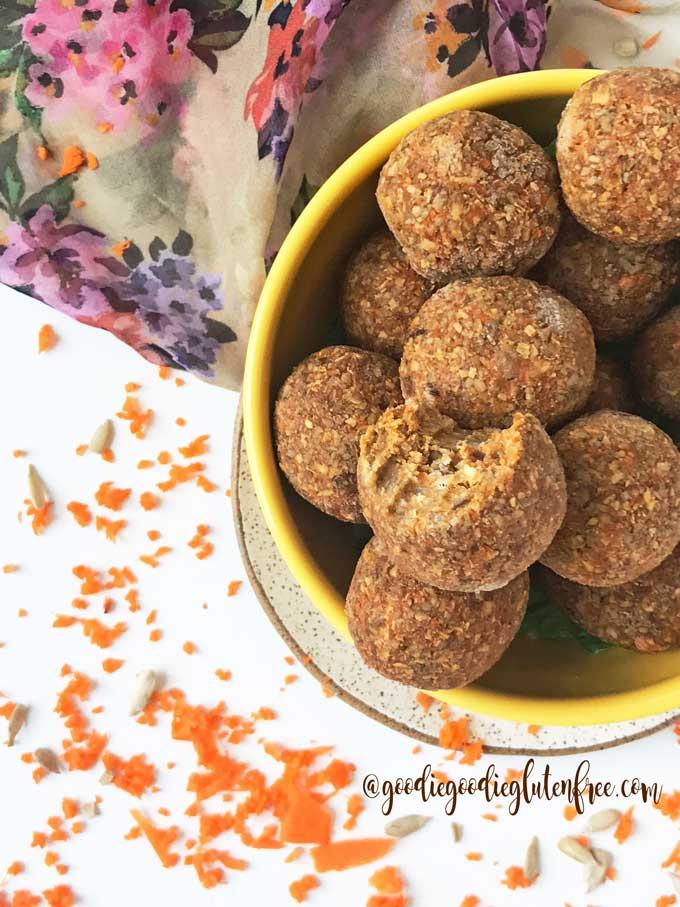 paleo carrot cake bliss balls in a bowl