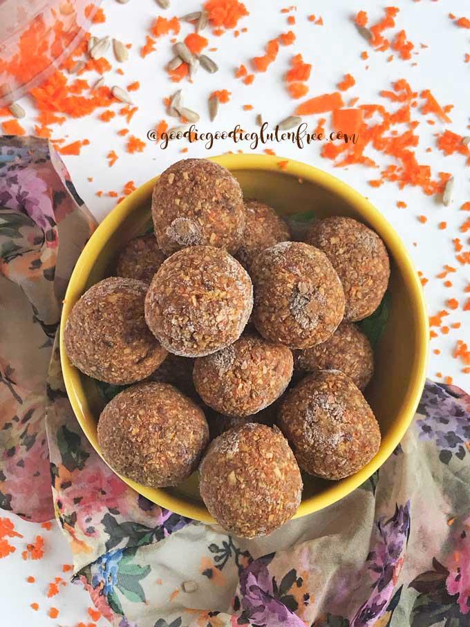 paleo no bake raw carrot cake bliss balls
