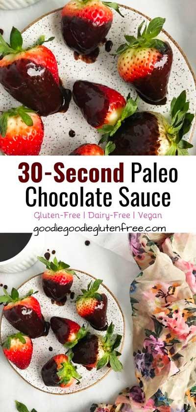 homemade chocolate sauce dipped in strawberries like fondue, but dairy-free!